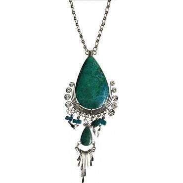 Authentique collier pierre turquoise
