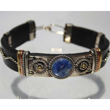 Bracelet cuir et pierre lapis-lazuli.