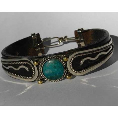 Bracelet cuir et pierre turquoise.