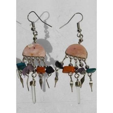 Boucles d'oreilles andines quartz rose