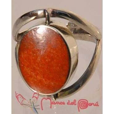 Bague réglable nacre et jaspe rouge