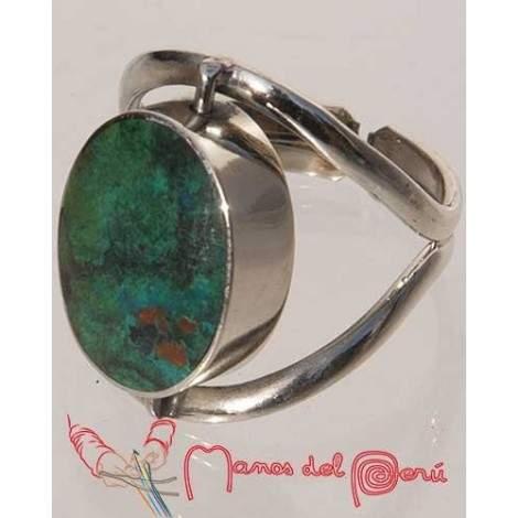 Bague réglable serpentine et turquoise