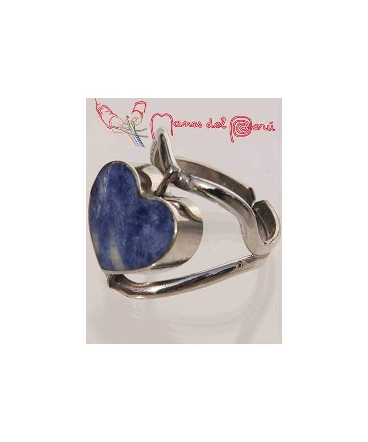 Bague coeur turquoise et lapis-lazuli