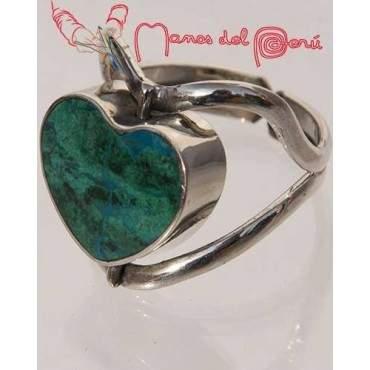 Bague coeur serpentine et turquoise