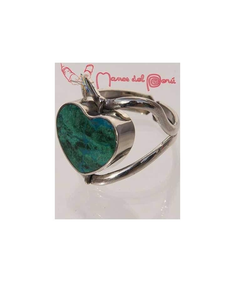 Bague coeur turquoise et nacre