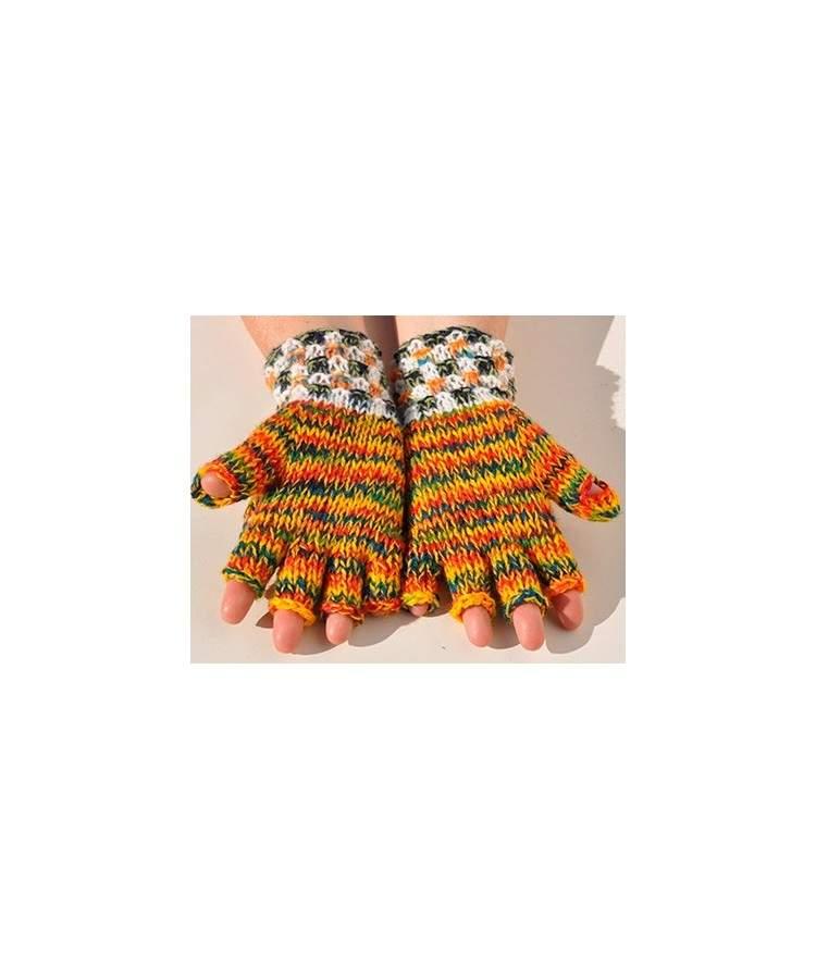 Moufles mitaines orange chiné