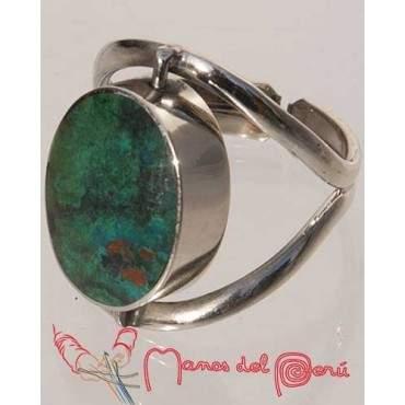 Bague réglable turquoise-Onyx
