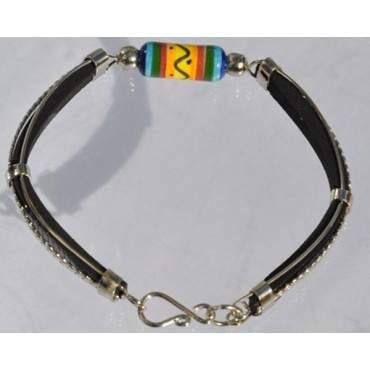 Bracelet cuir et perle en céramique