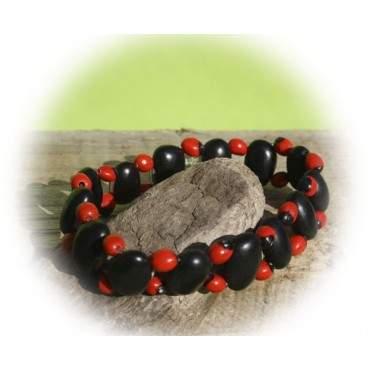 Bracelet élastique Huayruro rouge et noir