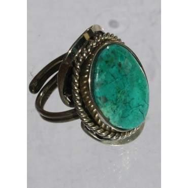 Bague reglable avec pierre en turquoise péruvienne