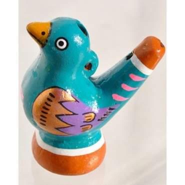 Sifflet oiseau à eau vert en ceramique