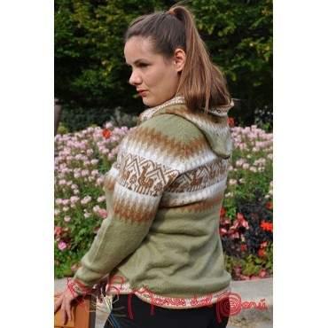 Pull femme à capuche en laine d'alpaga