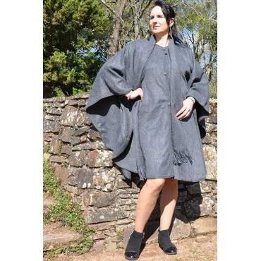 Manteau cape gris anthracite