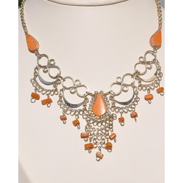 Authentique collier des Andes jaspe rouge