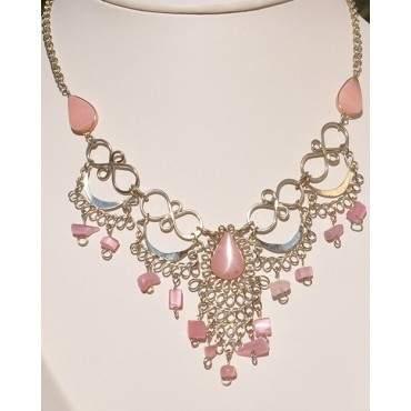 Authentique collier des Andes quartz rose