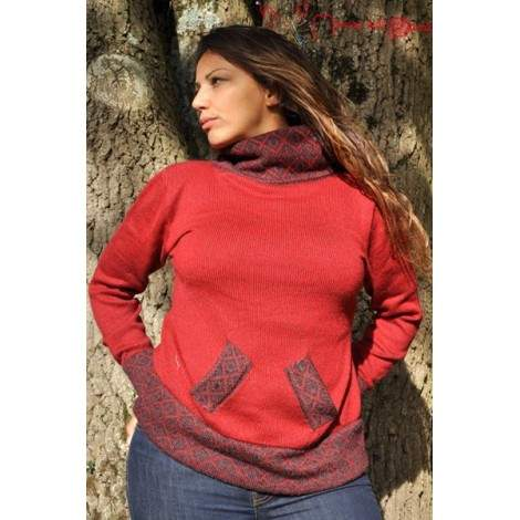 Pull col montant rouge-indien