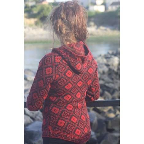 Pull dessins Croix andine rouge indien