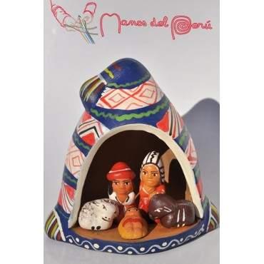 Crèche dans un  bonnet péruvien