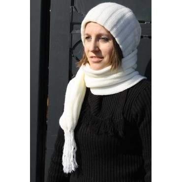 Echarpe bonnet blanc
