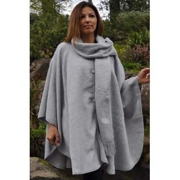 Manteau cape gris